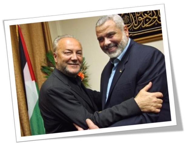 George Galloway hugging Ismayil Haniyeh