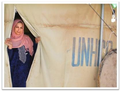 Palestinian woman in a refugee camp in Iraq