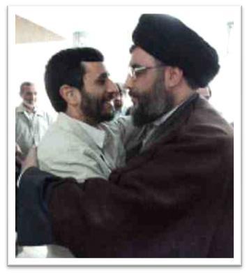 Hizb Allah chief Hassan Nasrallah (right) embracing his Iranian sponsor Mahmoud Ahmedinejad (left)