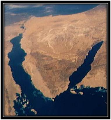 View of Sinai peninsula from space