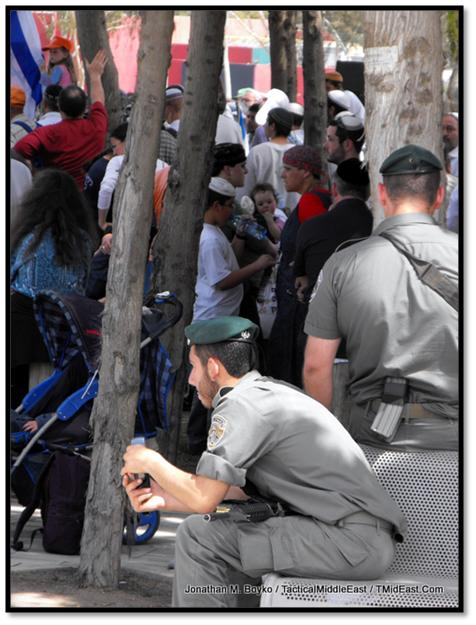 Border Police officers guarding the demonstration