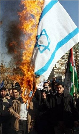 Burning the Isreali flag, and supporting Islamic regimes that wants to destroy Israel.
