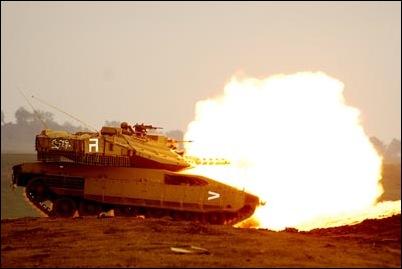 Merkava tank fired at a target