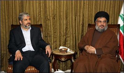Khaled Mashaal and Hassan Nasrallah. Share same goal.