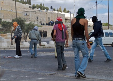 Palestinians rioting in Jerusalem