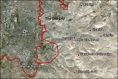 Jerusalem and Abu Dis. Just under two miles (three kilometers) apart.
